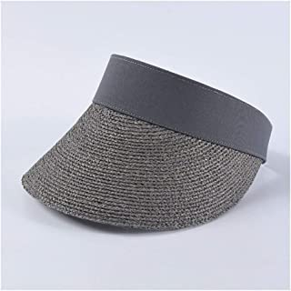 Summer Empty top hat Female INS Fashion Hipsters Wild Lafite Straw hat Beach Holiday Travel hat` TuanTuan (Color : Grey)