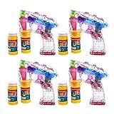 Schramm 4er Pack LED Seifenblasenpistolen incl. 2x50ml Seifenblasen Flüssigkeit Ohne Batterien Pistole Bubble Gun
