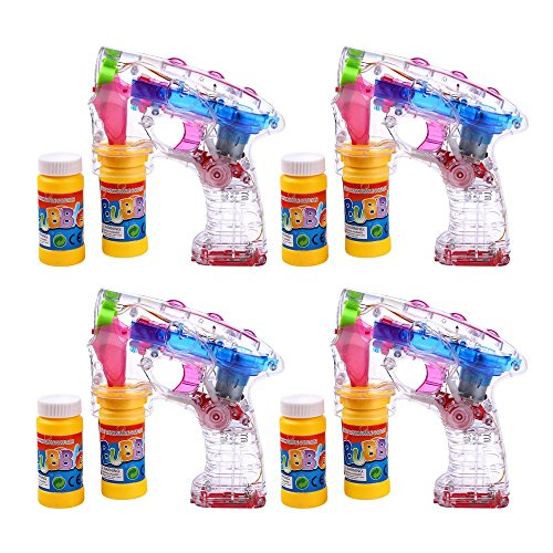 Schramm® 4er Pack LED Seifenblasenpistolen incl. 2x50ml Seifenblasen Flüssigkeit Ohne Batterien Pistole Bubble Gun