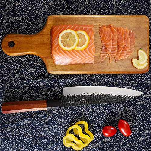 FAMCÜTE 8 Inch Professional Japanese Chef Knife, 3 Layer 9CR18MOV Clad Steel w/octagon Handle Gyuto Sushi Knife for Home Kitchen & Restaurant