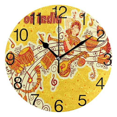 Eileen Max Music of Idnia Art Design Reloj de Pared Redondo Decorativo para Oficina en el hogar Reloj Escolar Arte