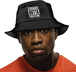 Straight Outta USA Wrestling Unisex Cotton Packable Black Travel Bucket Hat Fishing Cap