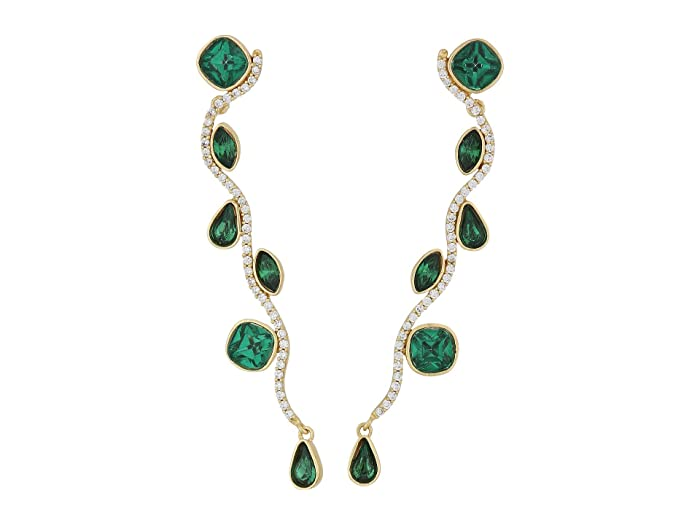 SOLE / SOCIETY  Wavy Pave and Stone Drama Earrings (12K Soft Polish Gold/Emerald/Crystal) Earring