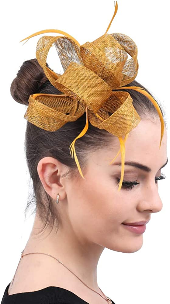 YONQUIL Gold Female Accessories Hair Fascinators Hat Women Feathers Clip Headwear SYF602