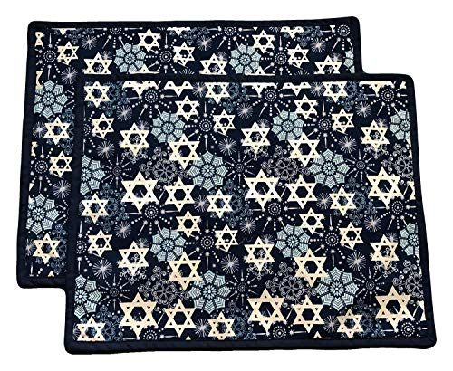 14' x18' Hanukkah Placemat - Set of 2 - Reversible Place Mats - Star of David on Blue