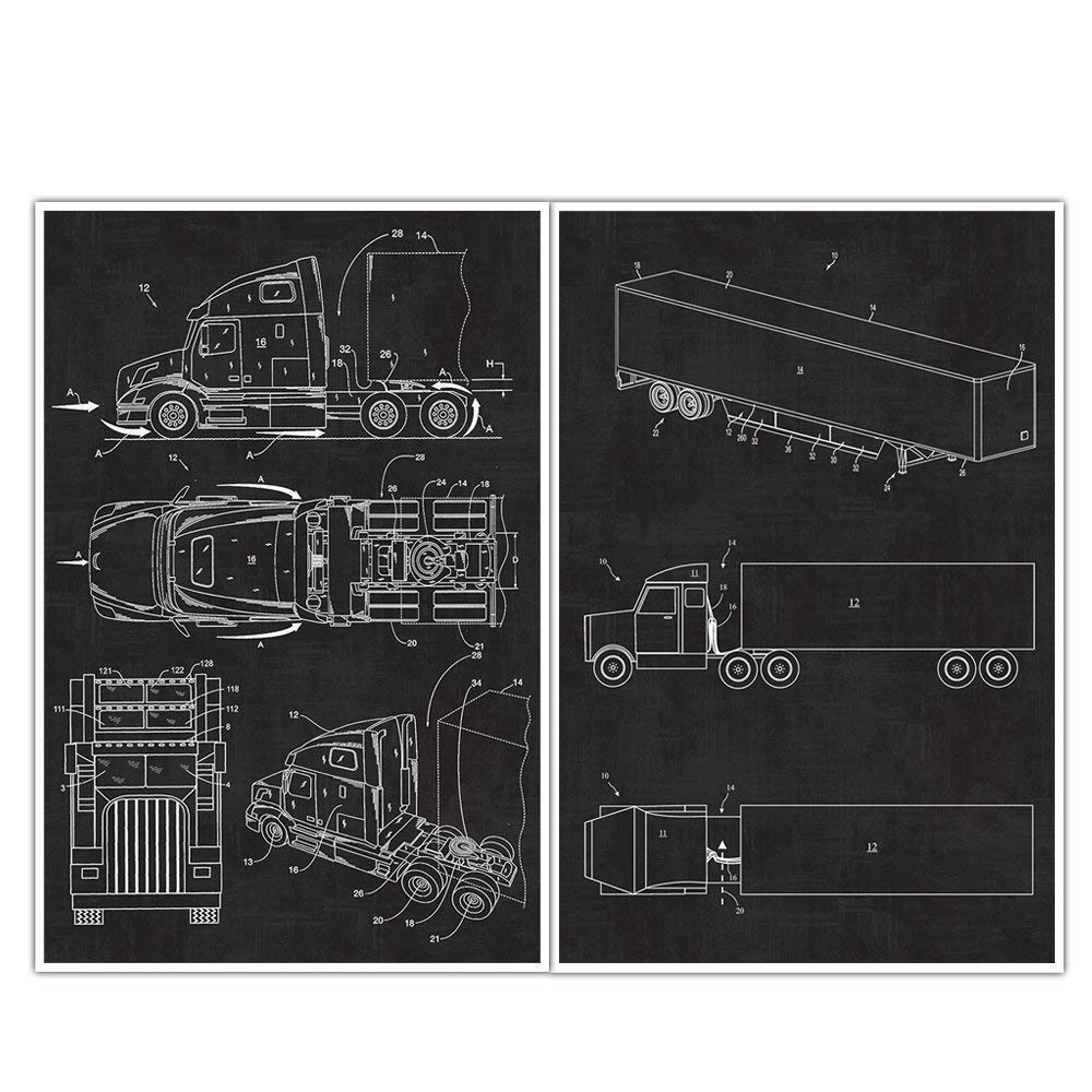 Trailer Tractor Max 58% OFF Fresno Mall Patent Posters Prints Blueprint