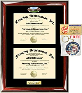 Double Diploma Frame UMUC University of Maryland University Dual Degree Holder Engraving Framing Two Certificate Holder Graduation Gift Bachelor Master MBA