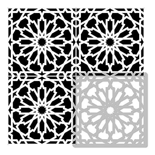 VILAR Wiederverwendbare Kunststoff-Schablone Fliese / / Marokkanische Geometrische / / Boden Wand (15x15cm)