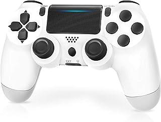 Manette pour PS4,JORREP Manette sans fil pour Playstation 4/Pro/Slim Console avec audio,Dualshock Fonction,Blanc