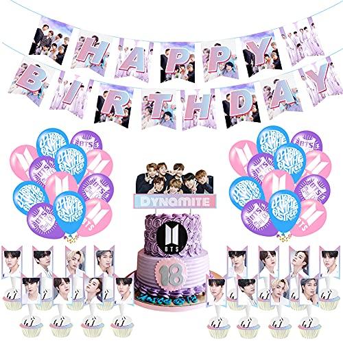 BTS Birthday Party Supplies, Hilloly 36 Pcs BTS Conjunto de Decoración de...