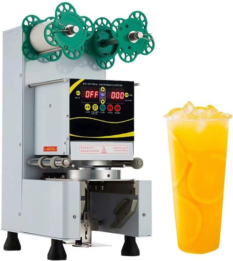 Máquina de Sellado de Vasos Automática - Sellador de Vasos Eléctrico Comercial 400-500 Vasos/h con Panel LED para Sellar Vasos de Papel y PP, Sellador de Vasos de Café y Té con Leche