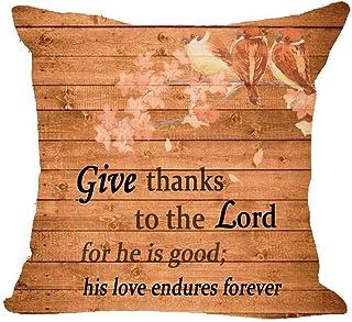 CWfeng bendición, Gracias al Señor, Debido a su amabilidad, su Amor Siempre es Largo, Lino, pañuelo, Cintura, Almohada, Almohada, Almohada, sofá, 18 x 18 Pulgadas (A) (incluida la almohad
