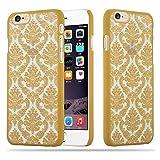 Cadorabo Apple iPhone 6 / iPhone 6S Hardcase Hülle in Gold Blumen Paisley Henna Design Schutzhülle – Handyhülle Bumper Back Hülle Cover