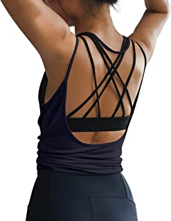 OYANUS Womens Summer Workout Tops Sexy Backless Yoga Shirts Open Back Activewear Running Sports Gym Quick Dry Tank Tops