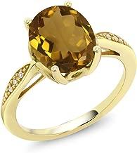 Gem Stone King 14K Yellow Gold 2.04 Ct Oval Whiskey Quartz and Diamond Ring