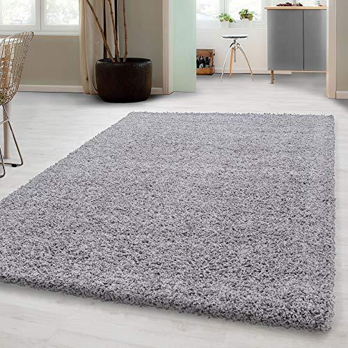 Carpetsale24, Hochflorteppich aus Polypropylen 240x340 cm hellgrau