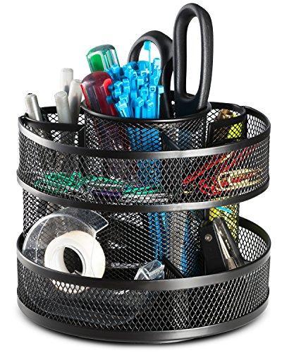 Halter Steel Mesh Spinning Desk Sorter - Rotating Pencil Holder - Black