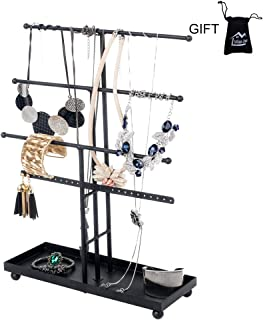 Urban Deco Jewelry Organizer Stand — 4 Tier Necklace Holder With Base Tray, 26 Holes For Pierced Earrings For Girls And Women To Organize Necklace, Earrings, Bracelet, Ring, Watch And Hair Tie.