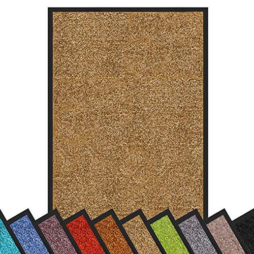 Floordirekt Schmutzfangmatte Rhine   waschbare & leistungsstarke Fußmatte   Sauberlaufmatte mit Rutschfester Rückseite   Türmatte in vielen Größen & Farben (Beige, 40 cm x 60 cm)