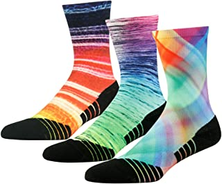 Men's Women's Novelty Performance Sports Crew Socks Built for Cycling & Basketball 3, 4, 7 Pairs