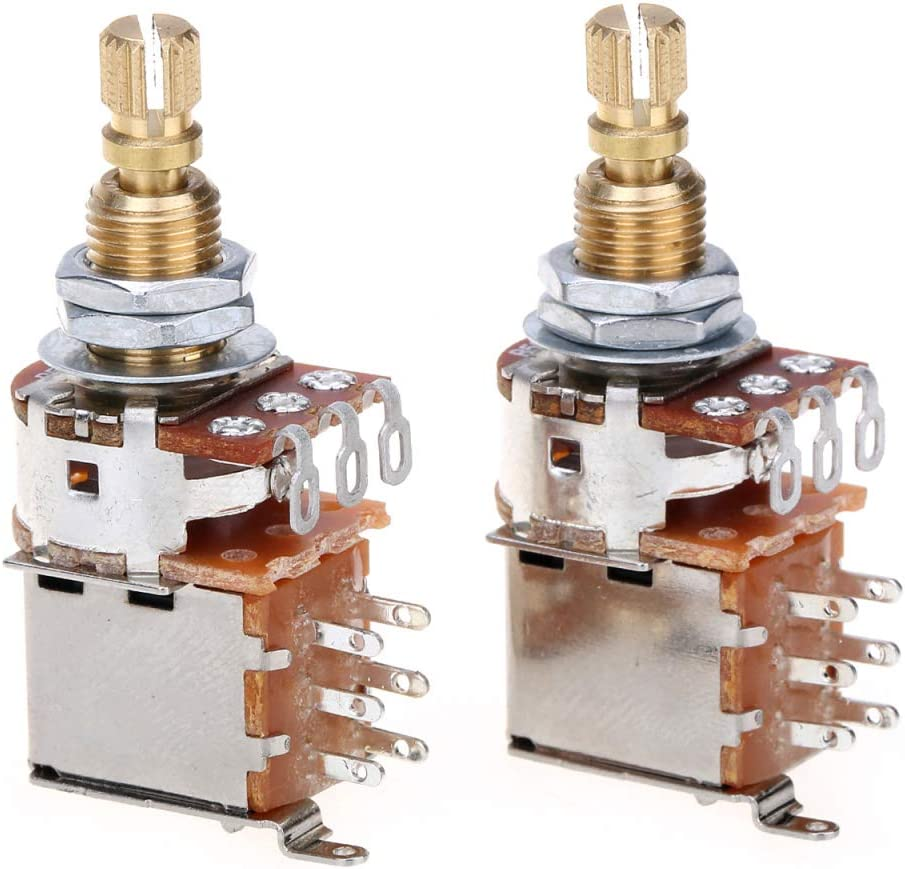 Musiclily Pro Latón Full Tamaño Métrico Split Shaft Control Pots B500K Push/Push Linear Taper Potenciómetros para Guitarra (Set de 2)
