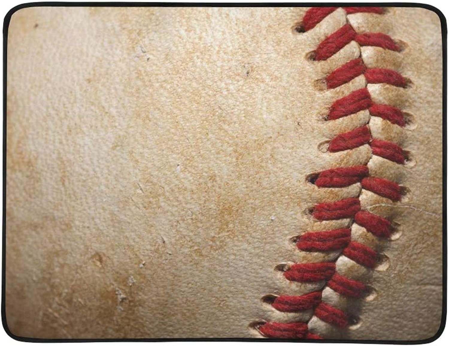 Close Up of A Baseball Threads with Room for Copy Pattern Portable and Foldable Blanket Mat 60x78 Inch Handy Mat for Camping Picnic Beach Indoor Outdoor Travel