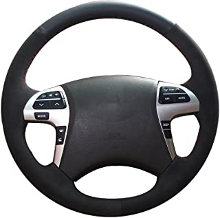 XuJi Hand Sewing Suede Black Genuine Leather Steering Wheel Cover for Toyota Highlander 2009-2014 / Camry 2007-2011 (Mode 2)