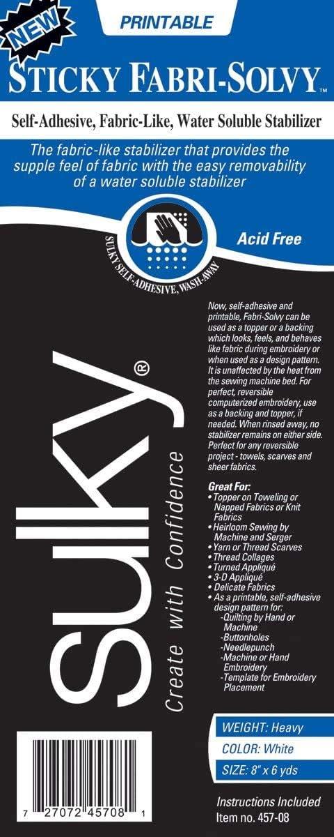 8 x 6 yd Sulky Fabri-Solvy stabilizer Pack of 2