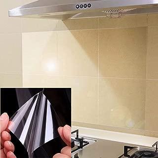 UPREDO 4pcs Kitchen Transparent Backsplash Vinyl Film Wallpaper Stickers Waterproof Oilproof High Temperature Resistant Environment-Friendly PVC, 17.5''x27.5''
