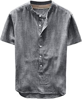 Men Linen and Cotton V Neck Short Sleeve T Shirts Casual Tee Linen Cotton Shirts Button Up Beach Tops Plain Tees
