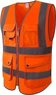 YUFENGBAIHUODIAN Poches Multiples Haute visibilité Hi VIZ Zipper Fermeture à glissière Vest de sécurité réfléchissante ave...