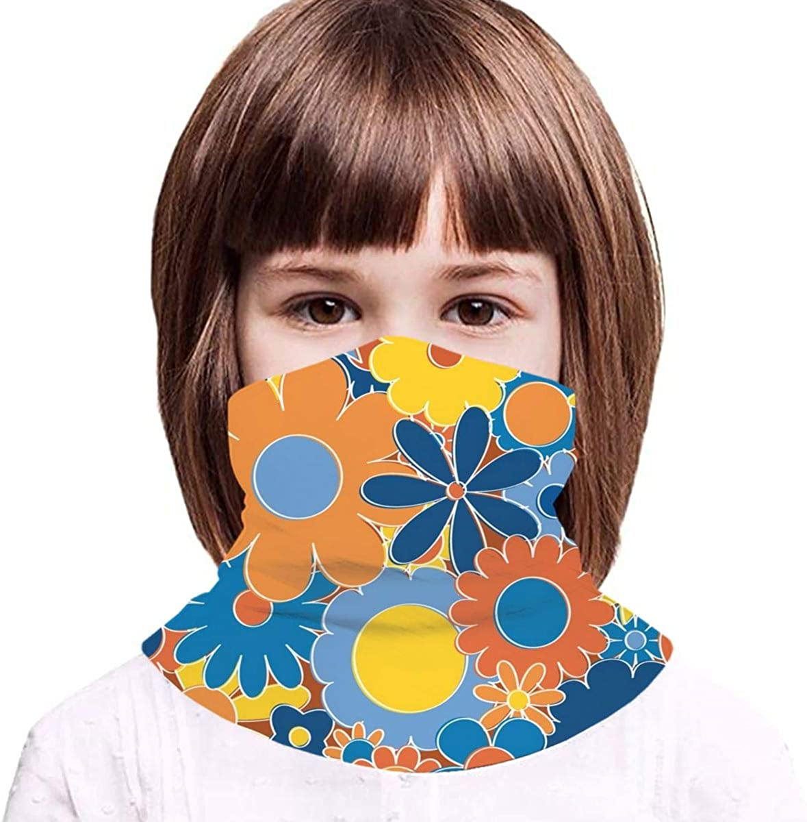 Funky Daisy Floral In Sunny Daze Kids Face Mask Dust Sun UV Protection Neck Gaiter Balaclava Face Cover Scarf Summer Breathable for Cycling Fishing Outdoors