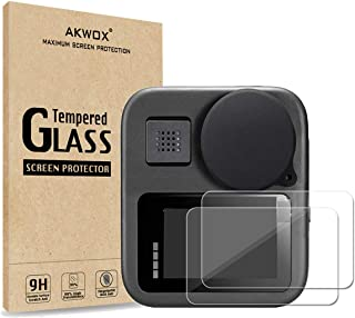 [4 Pack] Tempered Glass Screen Protector for Gopro Max Action Camera (2-Pack) & Lens Cap Cover (2-Pack) by Akwox
