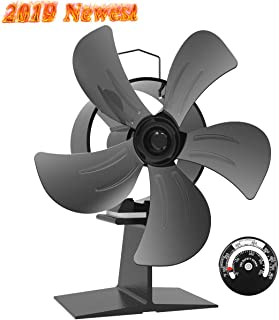 Sonyabecca 5 Blade Fireplace Fan Heated Powered Stove Fan Wood Stove Fan with Magnetic Thermometer for Wood Log Burner Fireplace