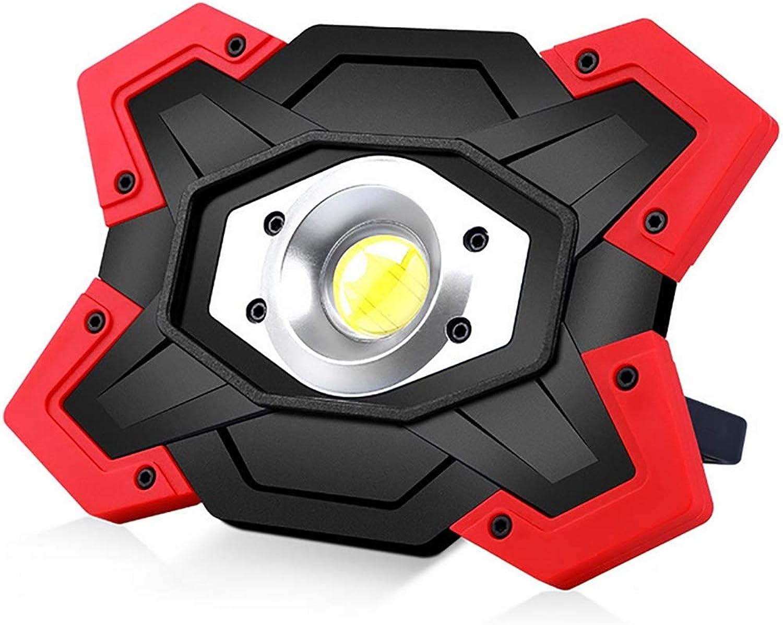 OOFAY& Tragbar Sehr hell LED Arbeitslampe Wiederaufladbar Flut Camping Punktlicht Notleuchte - Ideal zum Draussen Camping Angeln, Wandern, Stiefele,rot