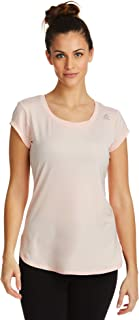 Reebok Women's Legend Running & Gym T-Shirt - Performance Short Sleeve Workout Clothes for Women - Gossamer Pink, Large