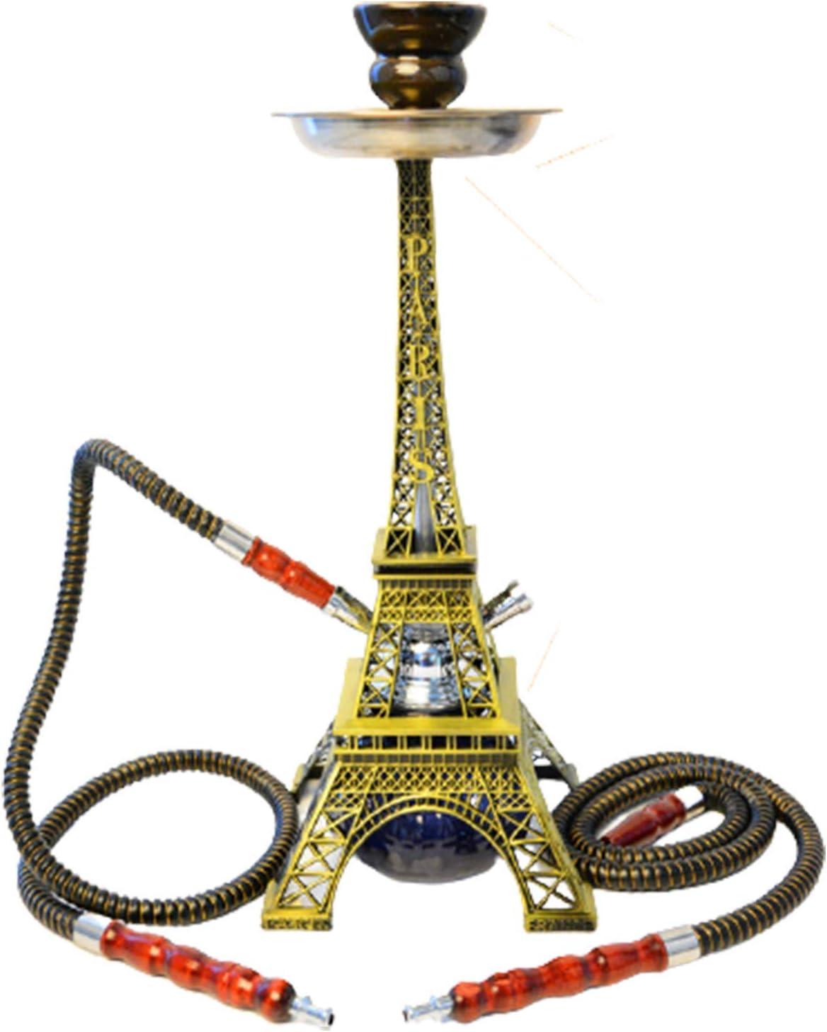 RHJK Juego De Cachimba Shisha, Kit Forma Torre Eiffel Cuenco Cerámica Abrazadera para Carbón Conector Manguera Accesorio Dos Mangueras Creativas Juego Completo Premium Ma