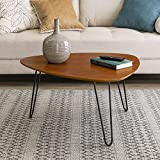 Walker Edison Furniture Mid Century Modern Hairpin Coffee Accent Table Living Room, 32 Inch, Walnut