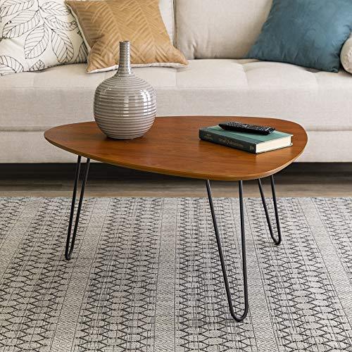 Eden Bridge Designs 81cm (32'') Mid Century Modern Hairpin Leg Side Coffee Table/ Modern Side Table for Living Room Home Office Bedroom, Wood, Brown/Walnut