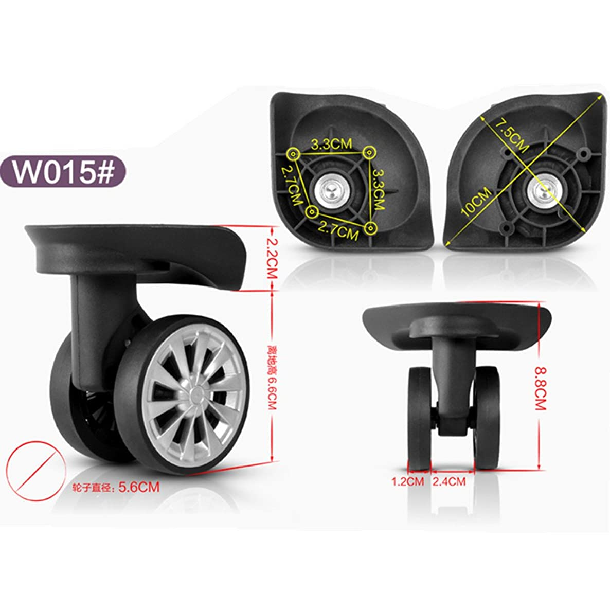 Faith Gao Must 888 A pair/set W015# Spinner Draw bar box wheels/suitcase wheels/luggage wheels replacement For Repair