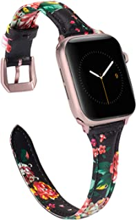 Wearlizer Slim Floral Leather Compatible with Apple Watch Band 38mm 40mm for iWatch Womens Black Red Flower Strap Replacement Beauty Cute Wristband (Rose Gold Clasp) Series 5 4 3 2 1 Edition Sport