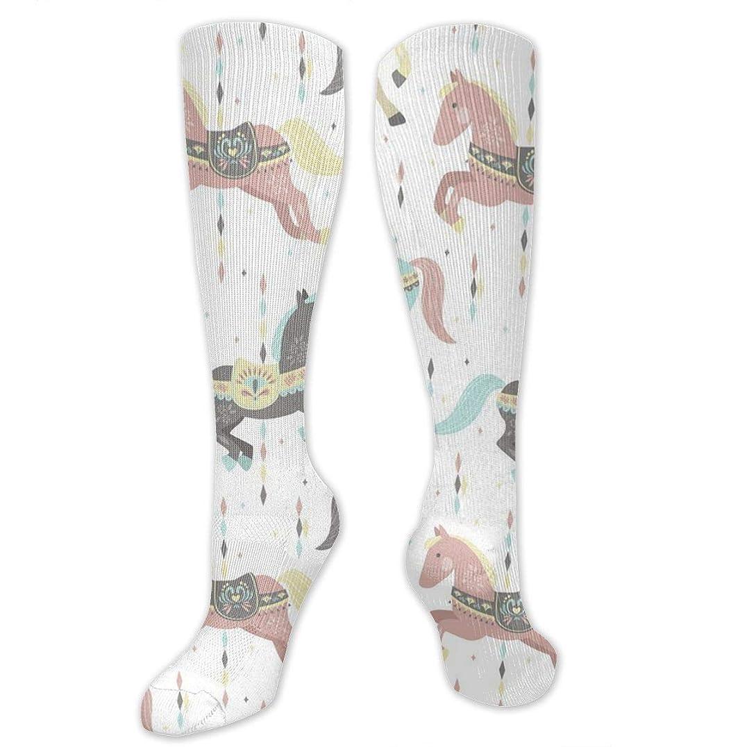 伝染性ハンディ防水靴下,ストッキング,野生のジョーカー,実際,秋の本質,冬必須,サマーウェア&RBXAA Carousel Horses Socks Women's Winter Cotton Long Tube Socks Knee High Graduated Compression Socks