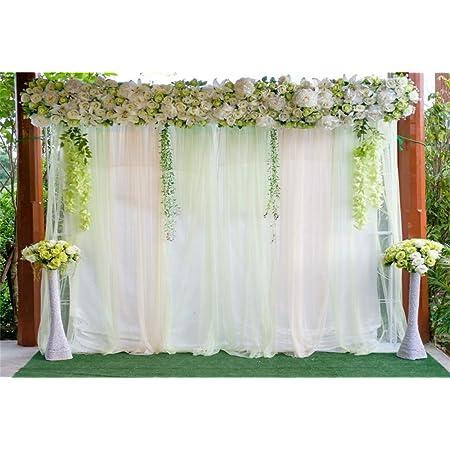 Renaiss 8x5ft Wedding Backdrop Green Leaves Garland Flowers French Window Balcony Curtain Romantic Interior Photography Background for Wedding Invitation Women Lady Art Portraits Photo Studio Props
