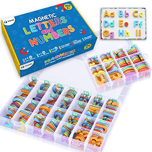 Magnetic Letters and Numbers for Toddlers – The Complete Set: 182 Letters and 81 Numbers & Symbols – Thick Foam Fridge Magnets for Kids - Includes 2 Storage Boxes, Board, Pens and Eraser