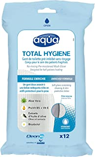 Cleanis No Rinse Aqua Wash Gloves - Medical Grade Pre-Moistened wash Glove - No Water, Soap, rinsing or Drying Necessary -...