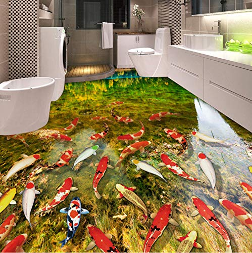 Mznm Custom 3D Bodenbilder, HD-See, Wasser, Karpfen, Badezimmer, Schlafzimmer, Bodenaufkleber, wasserfest, selbstklebende Vinyl-Tapete Home Decor 120x100cm