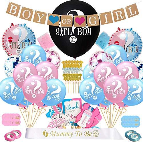 Hongyans 107 Piezas Artículos de Fiesta Gender Reveal Decoración de Fiesta para Baby Shower Banner de Niño o Niña, Confeti Globos de Látex Azul Rosa, Photo Booth Props Cake Toppers y Más