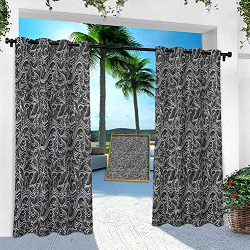 Aishare Store Outdoor Curtain for Patio Waterproof, Black and Grey,Fern Leaves Flowers, 52' x 108' Room Darkening Thermal Insulated Vertical Drapes for Front Porch & Canvas(1 Panel)