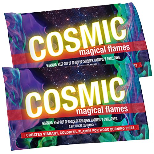 Magical Cosmic Flames Fire Color Changing Packets for Fire Pit - (12 Pack) - Campfire, Bonfire, Outdoor Fireplace – Magical, Colorful, Rainbow, Funky, Mystic Flames – Twice The Color – Half The Price