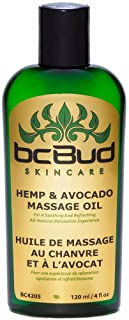 Hemp Massage Oil, All Natural, Unscented for Sensitive Skin, Relaxing, Sensual, Healing, Non Greasy for Stress Relief, Fra...